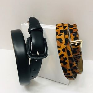 TALBOTS Black Leather Made in Italy Belt